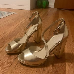 Jessica Simpson Gold Chunky Heels